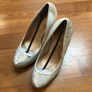 "De Blossom Collection high heels (4.5"") silver"